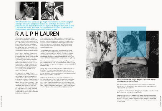 Double page spread designed by Victoria Donnelly