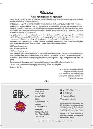 Gri Edebiyat Sayı 5  Üsküdar Belediyesi Üsküdar Gençlik Merkezi Öğrencilerinin Bülteni Gri Edebiyat Sayı 5 Eylül 2017