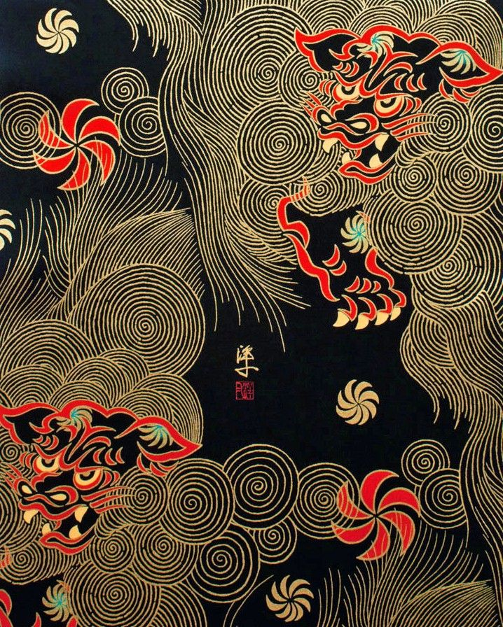 FABRIC - Golden Shishi Black Oriental Cotton Fabric by Alexander Henry 23£
