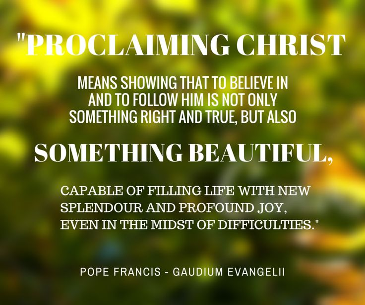 """""""Proclaiming Christ means showing that to believe in and to follow him is not only something right and true, but also something beautiful, capable of filling life with new splendour and profound joy, even in the midst of difficulties."""" -Pope Francis, Evangelii Gaudium.  #Christianity #Christ #Evangelization"""