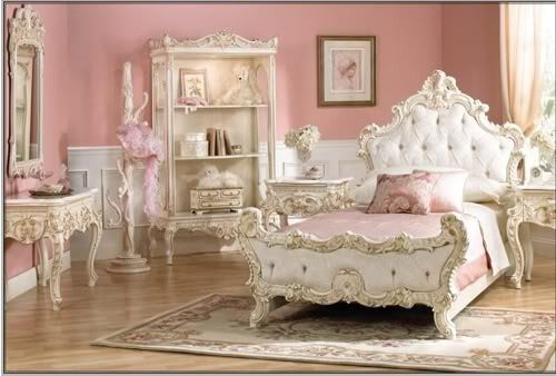 Pretty victorian style pink bedroom... im in love with victorian and antique styled rooms right now!