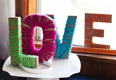 DIY Wool Wrapped LOVE Letters - would wrap these properly though