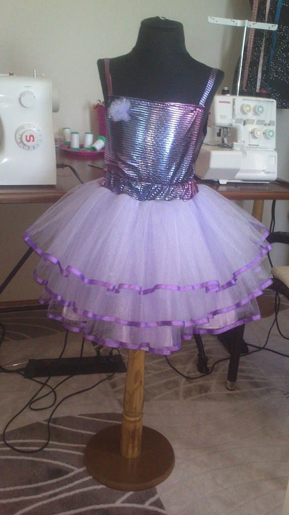 Set skirt tutu purple tulle for girl 8 years old-128 in size.