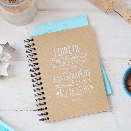Libreta con Superpoderes para que las recetas me salgan igual que a mi madre. Diseño de Mr.Wonderful. A la venta en: http://www.mrwonderfulshop.es