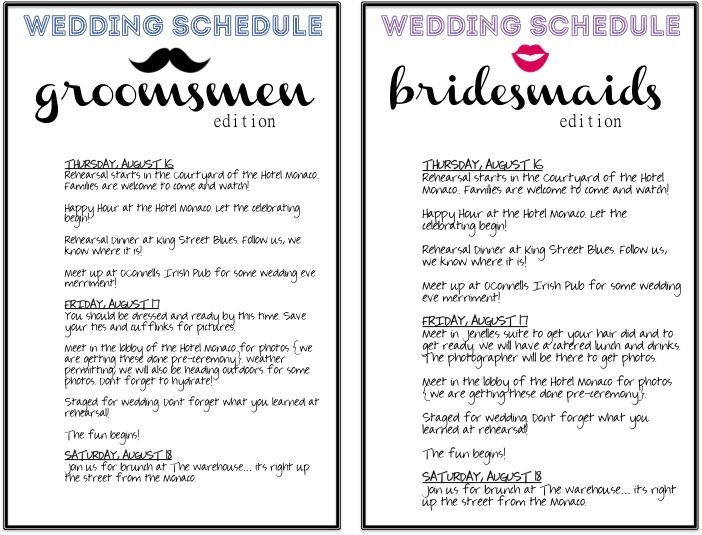 Take the confusion out DIY wedding schedules for your wedding party and family