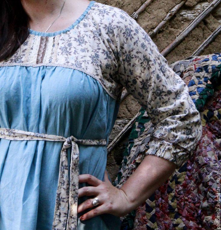 """Купить Платье в народном стиле """"Луговое"""" - голубой, цветочный, платье, русский…"""