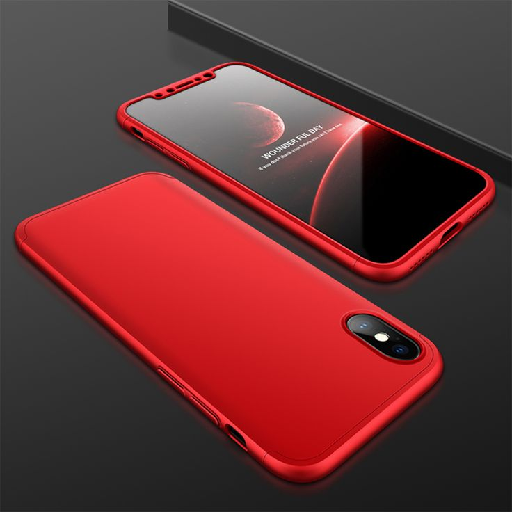 Bakeey™ 3 in 1 Double Dip 360° Full Protection PC Case With Tempered Glass Film for iPhone X