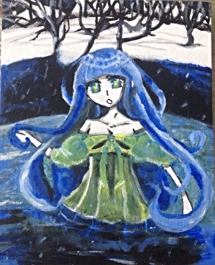 Blue anime girl water snow trees mnstuff my art hohohoh