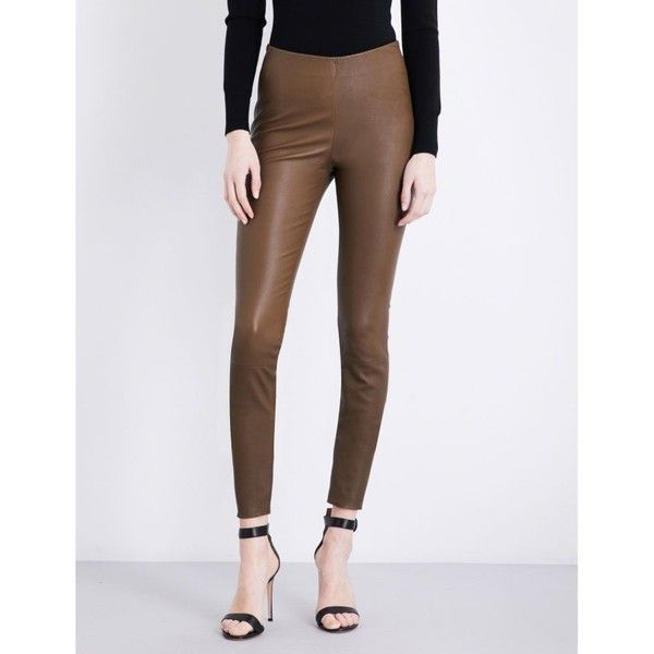 By Malene Birger Elenasoo high-rise leather leggings ($695) ❤ liked on Polyvore featuring pants, leggings, high-waisted leather pants, high-waisted leggings, slimming leggings, leather skinny pants and high-waisted pants