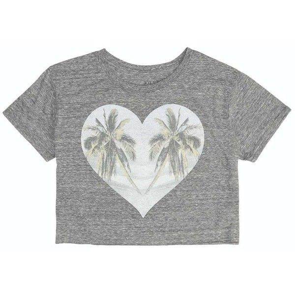 Billabong Women's Lift Up Your Palms Cut Off Tee ($11) ❤ liked on Polyvore featuring tops, t-shirts, shirts, crop tops, dark athletic grey, t-shirt/prints, summer t shirts, t shirts, heart shirt and cut off t shirt