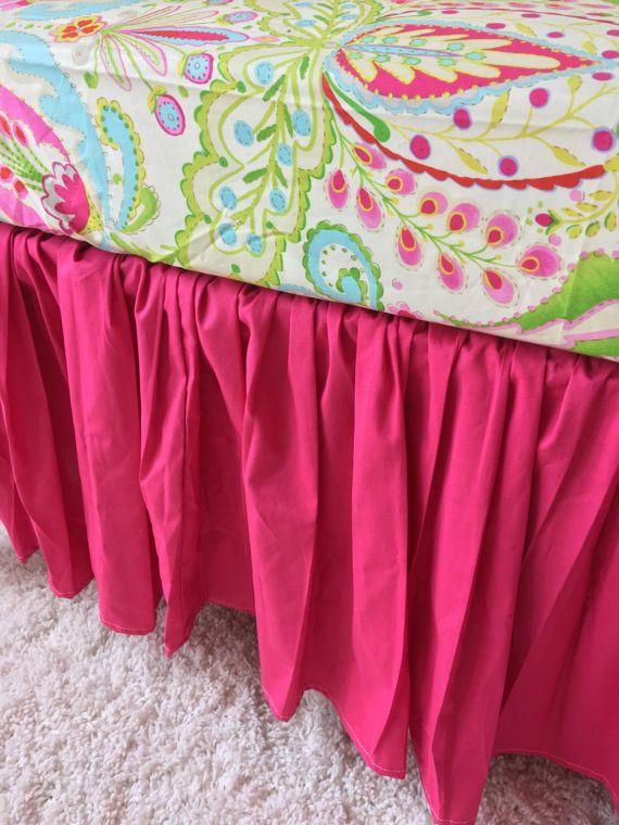 Solid Pink Crib Skirt, Hot Pink Crib Skirt, Gathered Crib Skirt, Crib Skirt, Baby Bed Skirt, Girl Crib Skirt, Pink Gathered Crib Skirt