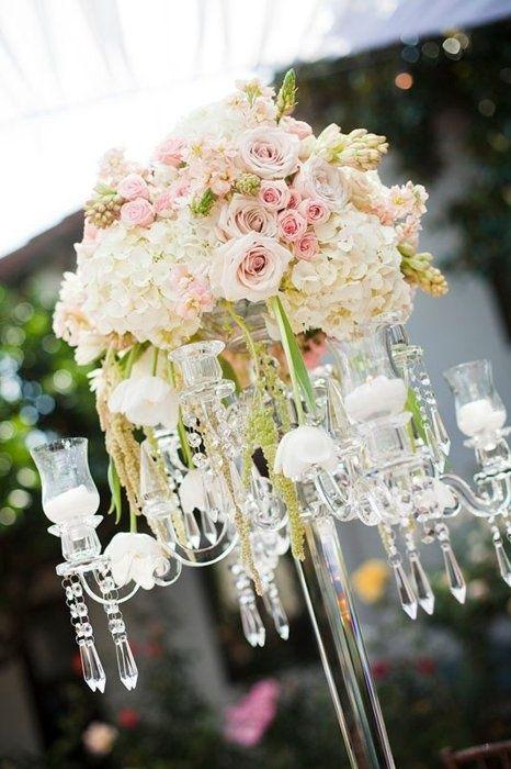 Wedding centerpiece ideas white crystals pink