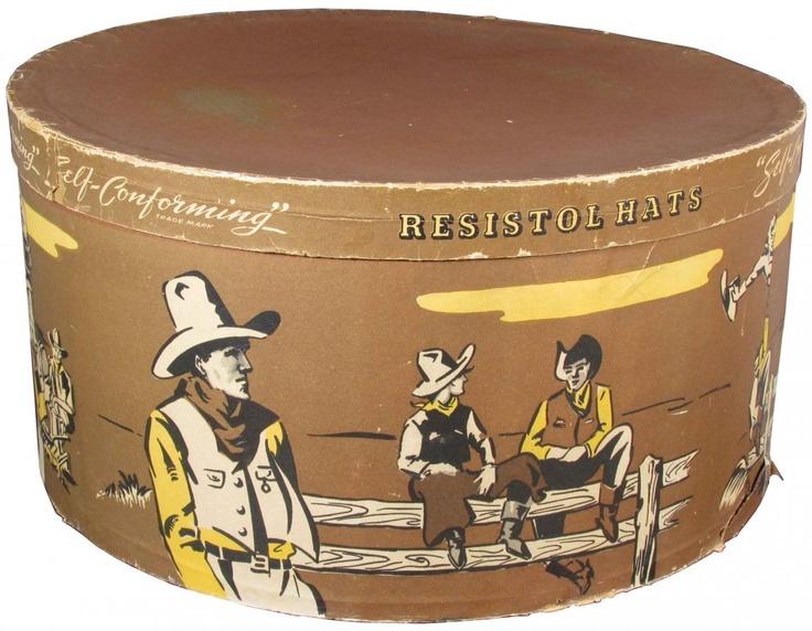 Cowboy classic! Resistol Cowboy Hat Box. Western Ranch motif.