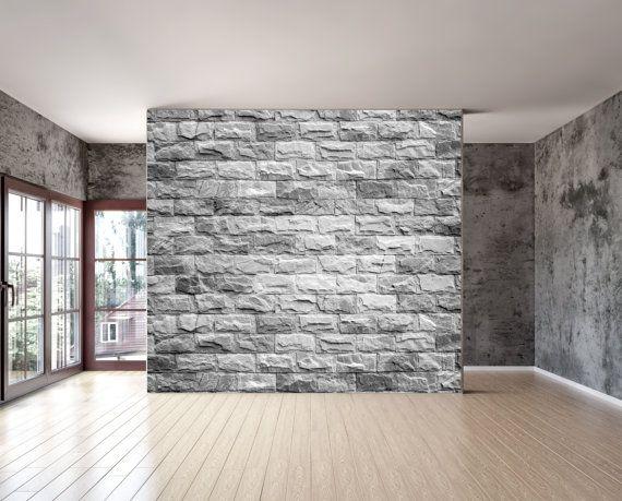 Grey brick texture wall mural is a repositionable peel - Bande adhesive murale ...