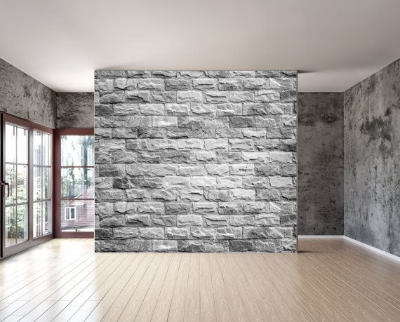 Grey Brick Texture Wall Mural Is A Repositionable Peel