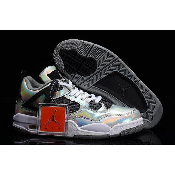 air jordan 4 retro metallic silver black white prism for mens clearance sale