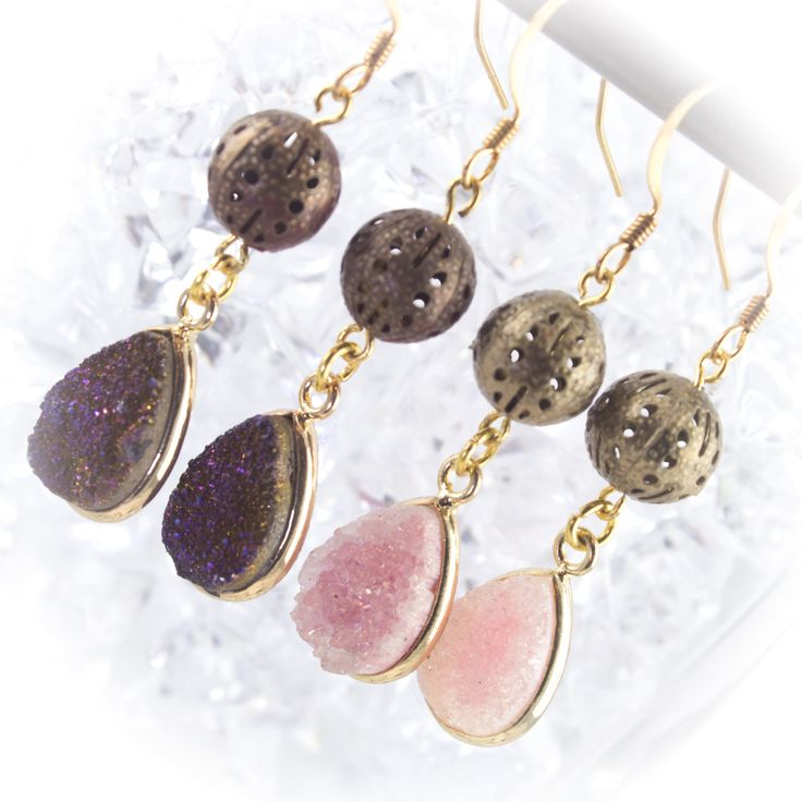 Gold and druzy agate titanium drop earrings. 219928EGP by LaraBellaJewelry on Etsy larabellajewelry.com