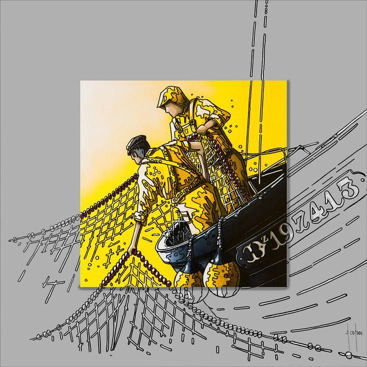Alain Coadou Artiste de Locronan  Pêcheurs de Douarnenez