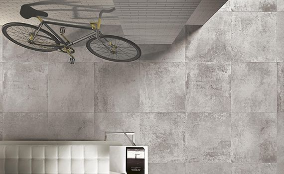 No 1336 Distressed concrete effect of a new range.