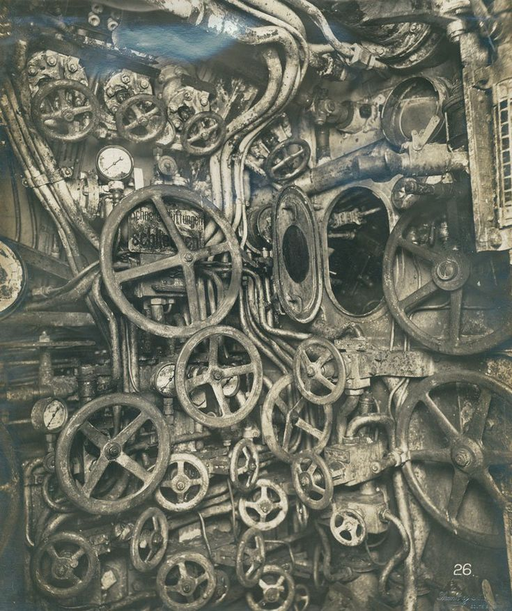 Historical Times — Control room of the UB-110 German submarine, 1918....