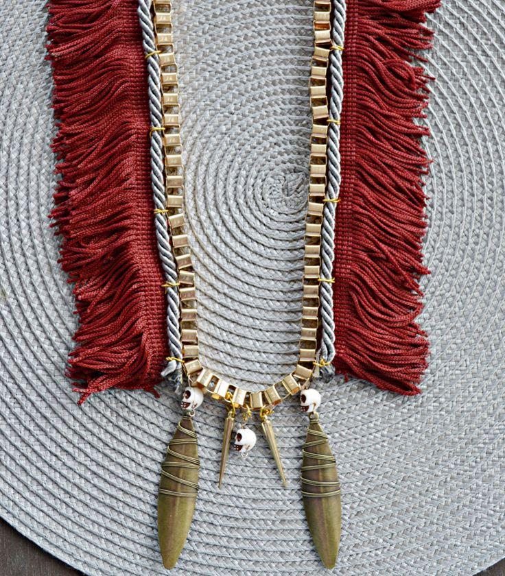 Boho chic statement necklace. Wine fringe. Gold. Skull. by Maraisjwls on Etsy