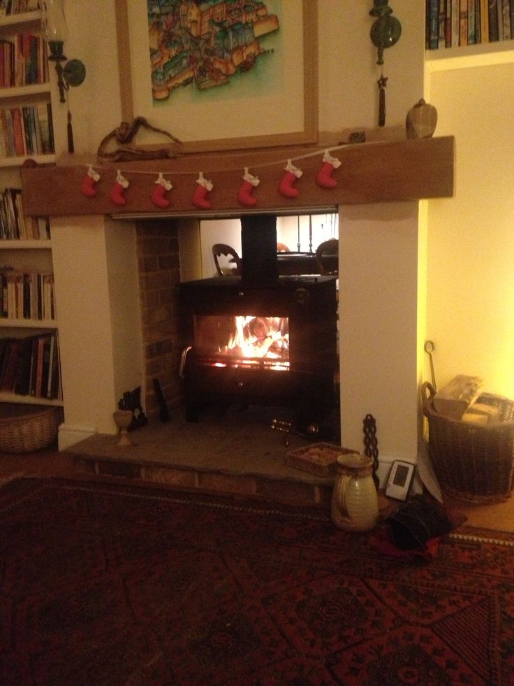 Double Sided Wood Burner At Christmas Beautiful House