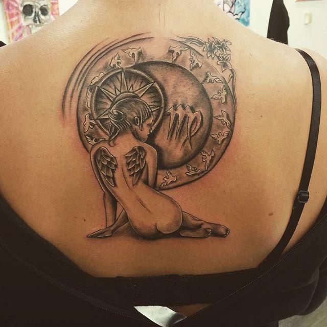 Virgo #tattoo#tatuagem#virgo#virgotattoo#tattoovirgem#jungfrau#jungfrautattoo#blackandgreytattoo#tatuagemvirgem#sternzeichen#horoscopo
