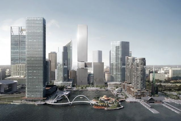Designs for a twin-tower waterfront complex in Perth's Elizabeth Quay by New York-based REX Architecture have been revealed for public comment.