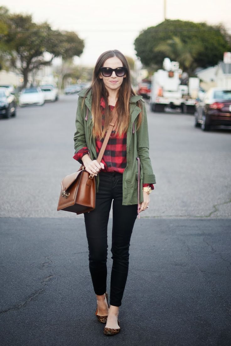 (summer/fall) olive green jacket, red plaid shirt, black pants, leopard-print flats, cognac bag from Merricks Art