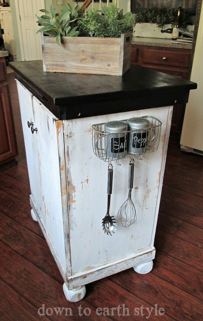 Shower Caddy turned Kitchen Caddy - would be a cute place for pot holders too.