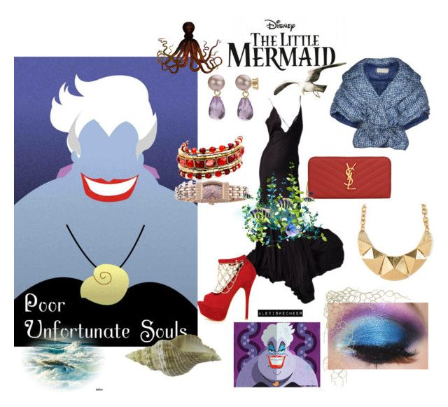 """""""Ursula - Disney Villians"""" by alexiswecheer ❤ liked on Polyvore featuring Gucci, SCERVINO STREET, Liliana, Yves Saint Laurent, DaVonna and Lucien Piccard"""
