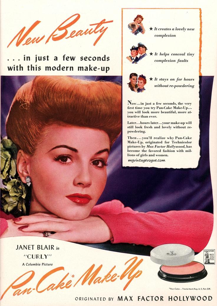 Pancake Makeup by Max Factor 1944 - Actress Janet Blair