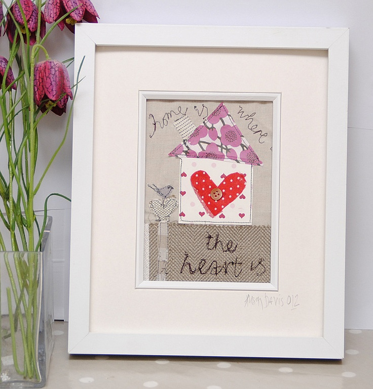 Home is where the heart is Textile Embroidered Wall Art British Made by birdie blue