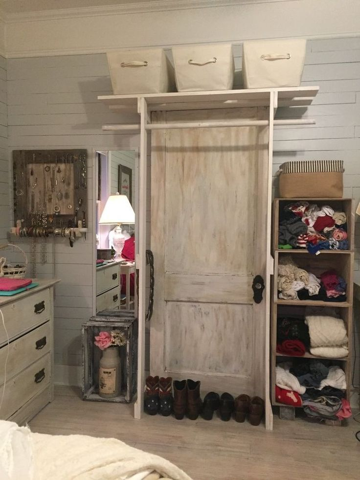 Free Standing Closet Made With An Old Door