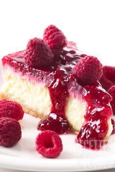 Gâteau au fromage facile et rapide et son coulis de framboise (Tarta de queso fácil y rápida con coulis de frambuesa)