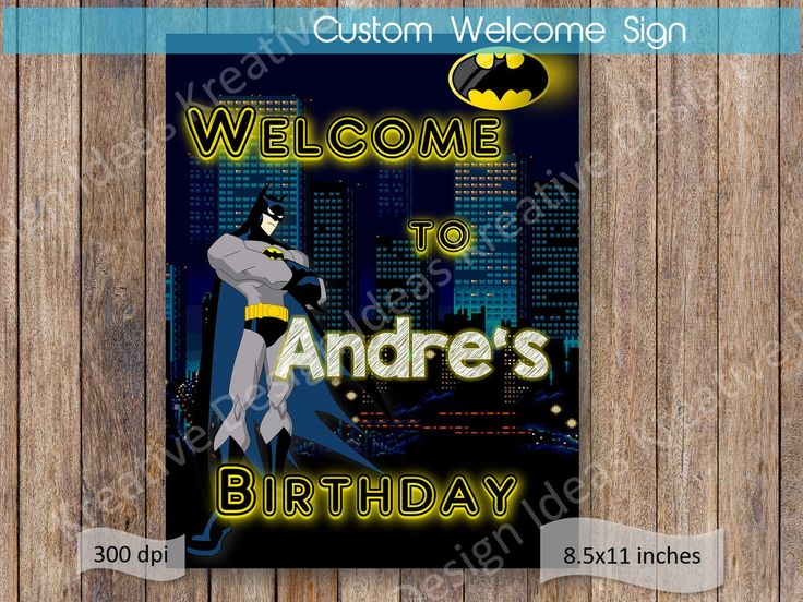 Batman Welcome Sign Batman Name Welcome Sign Printable Batman Birthday Batman Birthday Party Batman Party Theme Batman Door Sign by KreativeDesignIdeas on Etsy