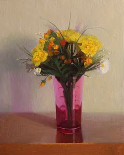 """Yellow Posy in Magenta Glass by Charmaine P Jackson Oil on 10""""x8"""" linen"""