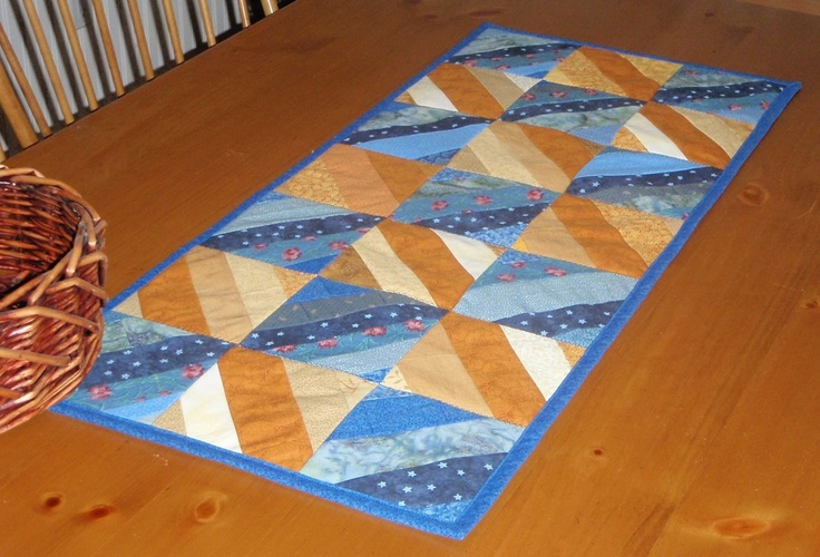 Quilted Table Runner - Blues and Yellows