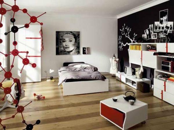 rote Akzente-Jugendliche Schlafzimmer