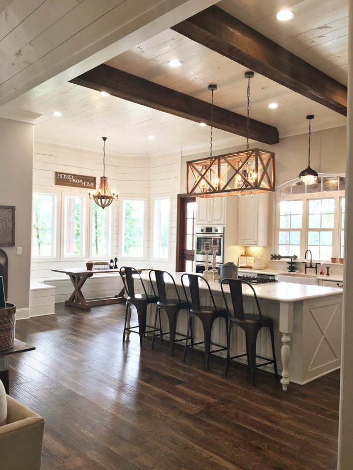 Kitchen, island, shiplap, wood beams, kitchen nook, modern farmhouse, farmhouse sink Beverage Building & Remodeling https://www.facebook.com/beveragebuilding/