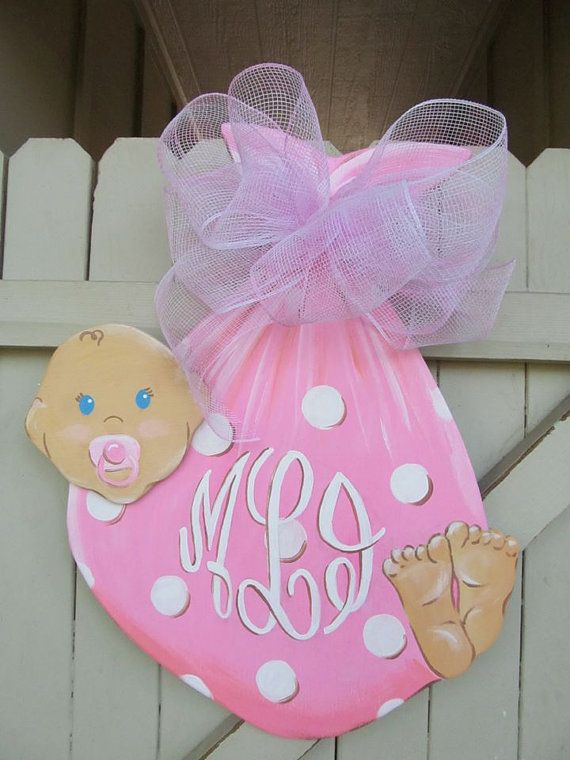 C'est une fille ! ou un garçon:) Affichette de porte en bois de bébé Monogramed