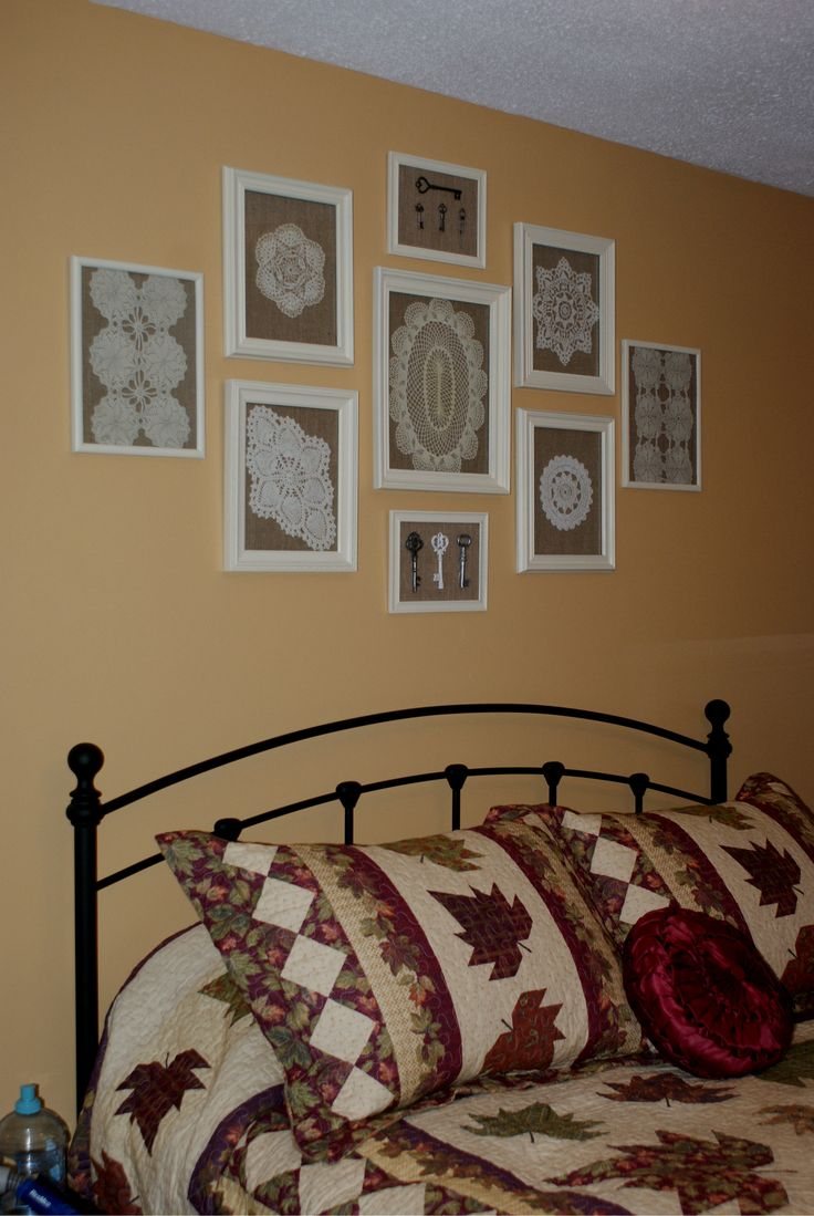 Nice way to display doilies...took old frames and painted them...lined the backing with burlap affixed with spray adhesive and then put on doily and glass and ta da...love it