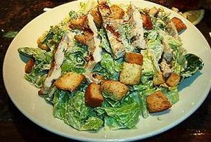 Caesar Salad Dressing to make at home:  ½ t anchovy paste  ½ t garlic paste (or 1/2 clove)  1 ½ t Dijon,  3 T Olive Oil  2 T red wine viegar  ½ lemon squeezed  salt, pepper parmesan cheese  croutons  Google Image (Wikipedia)