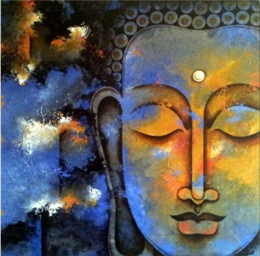 Rare thoughts art gallery lord buddha art mad about for Buddha mural paintings