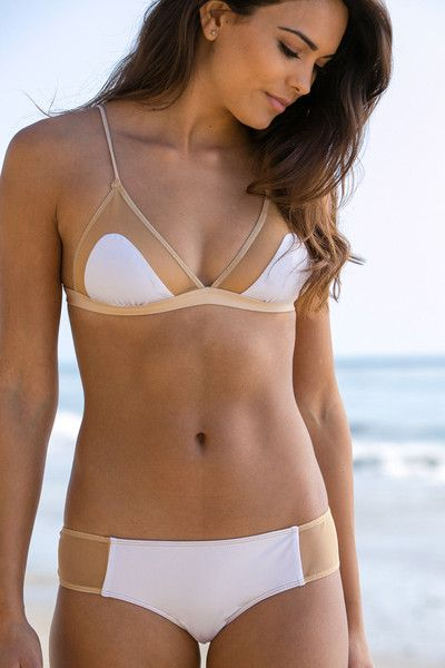 The Girl and The Water - Cali Dreaming - Love Bikini Top / White/Nude - $92