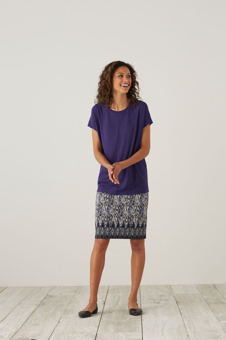 make a statement in print knit pencil skirt with