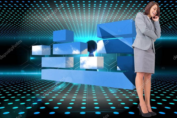 Smiling Thoughtful Businesswoman Keyhole Technological Glowing Background