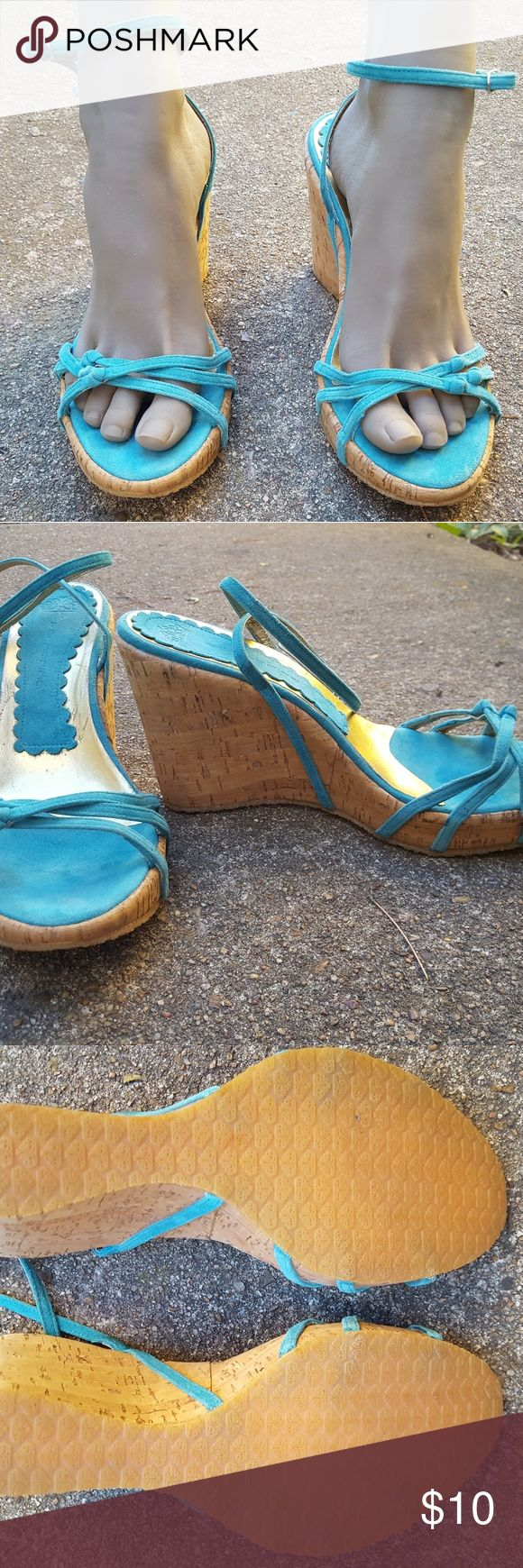 Turquoise Wedge Sandals Re-Posh. There is no size on them, but originally poshed to me as a size 9. They were too big for me and fit more like a 9.5 in my opinion and I am a true 9 with wide foot. The material is either suede or suede-like. 4 inch wedge. Fornarina Shoes Wedges
