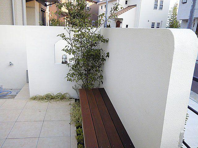 ウッドベンチ 植木 マリンランプ 飾り穴 外壁 目隠し ハード