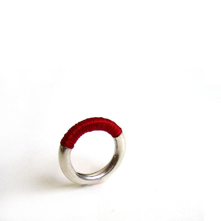 silver w red thread Chinese ancestor ring